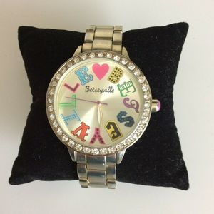 Betsey Johnson Watch Pave Crystal Gold Tone 7 Inch